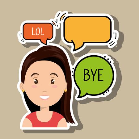 woman chat message speaker vector Illustration