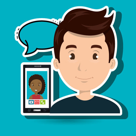 man chat message speaker vector Illustration