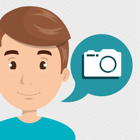 active content: man camera photo images vector illustration