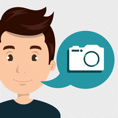 man camera photo images vector illustration