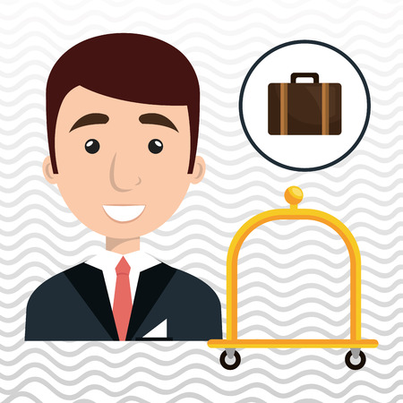doorkeeper: bellman hotel employee icon vector illustration design Illustration