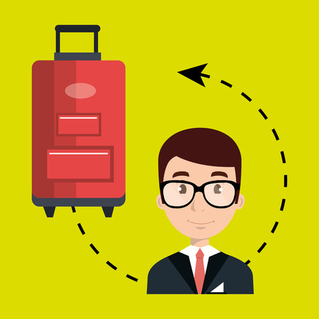 luggage carrier: hotel suitcase customer employee vector illustration design