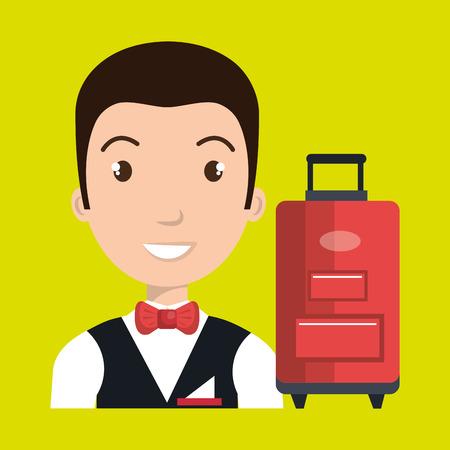 employé à la clientèle de conception d'illustration de vecteur hôtel valise