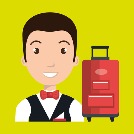 doorkeeper: hotel suitcase customer employee vector illustration design