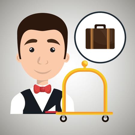 luggage carrier: bellman hotel employee icon vector illustration design Illustration