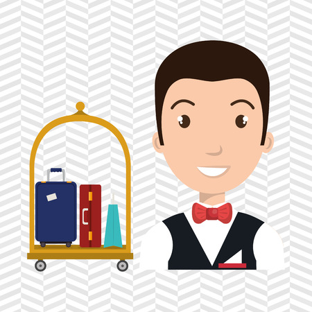 luggage carrier: bellman hotel employee icon vector illustration design Illustration