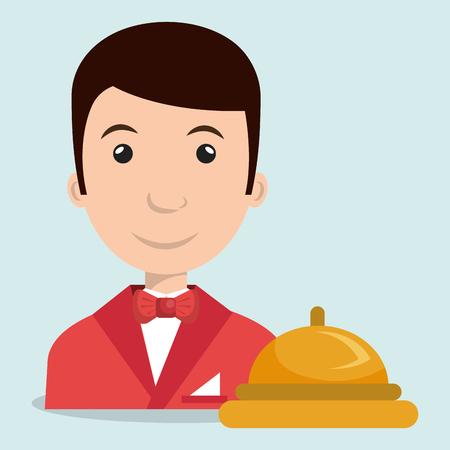 housekeeper: waiter housekeeper man hotel vector illustration design