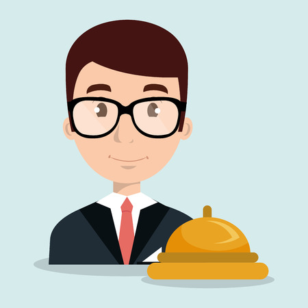 receptionist employee man hotel vector illustration design