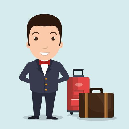 hotel suitcase customer employee vector illustration design Ilustração Vetorial