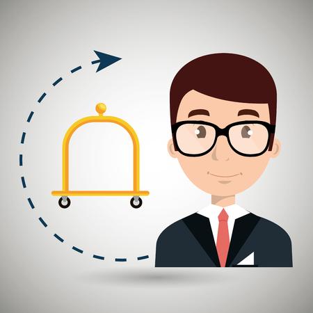 receptionist suitcase employee vector illustration design
