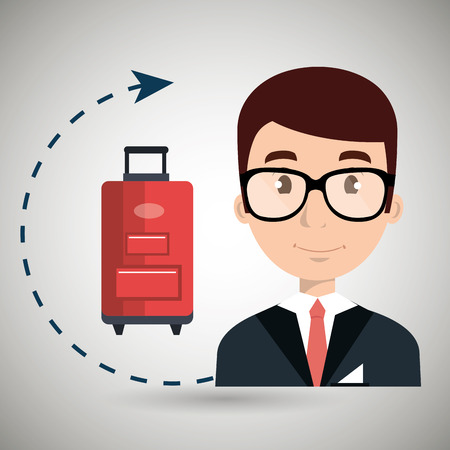 receptionist: receptionist suitcase employee vector illustration design