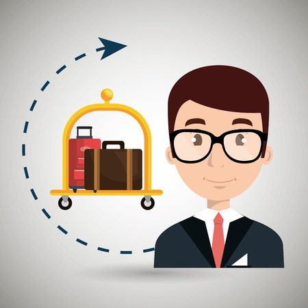 receptionist suitcase employee vector illustration design