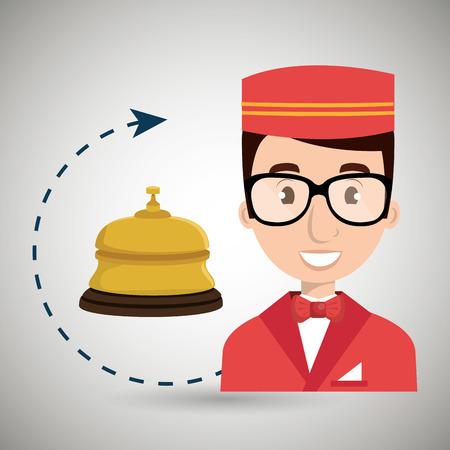 Bellman hotel employé icône vector illustration design Vecteurs