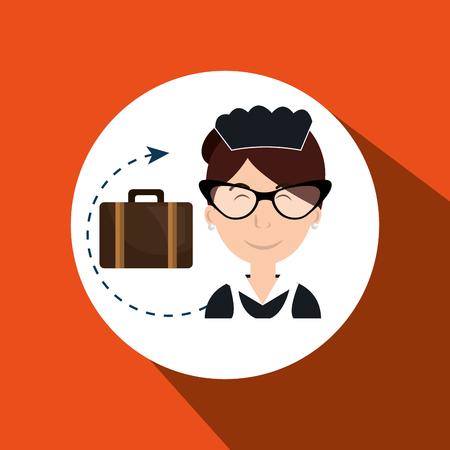 hotel staff: housekeeper maid hotel service vector illustration design Illustration