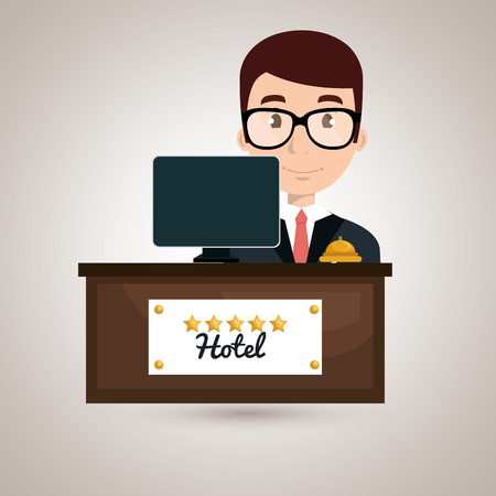 reception hotel: reception hotel employee icon vector illustration design Illustration