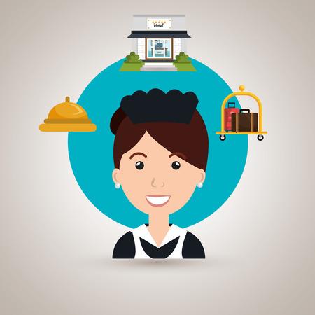 ama de llaves: ama de llaves de servicio de limpieza del hotel ilustraci�n vectorial de dise�o