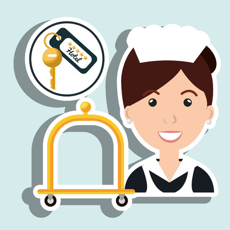 housekeeper maid hotel service vector illustration design Illustration