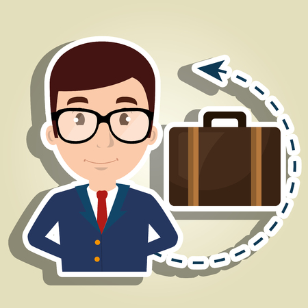 hotel manager: manager hotel employee service vector illustration design