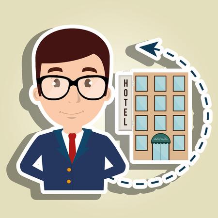 manager hotel employee service vector illustration design