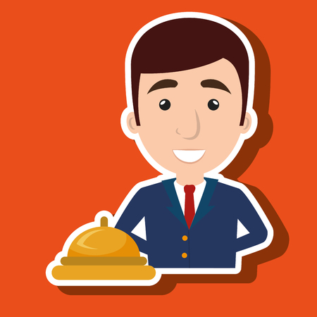 hotel manager: manager adminitrator man hotel vector illustration design