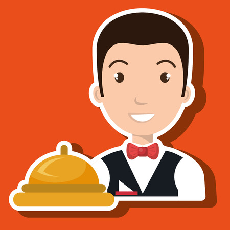 waiter housekeeper man hotel vector illustration design