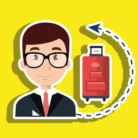 doorkeeper: receptionist suitcase employee vector illustration design