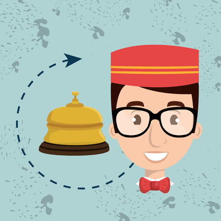bellman: bellman hotel employee icon vector illustration design Stock Photo