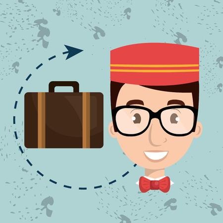 doorkeeper: bellman hotel employee icon vector illustration design Stock Photo
