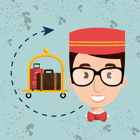 bellman: bellman hotel employee icon vector illustration design Illustration