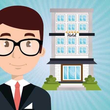 employee hotel building icon vector illustration design Illustration