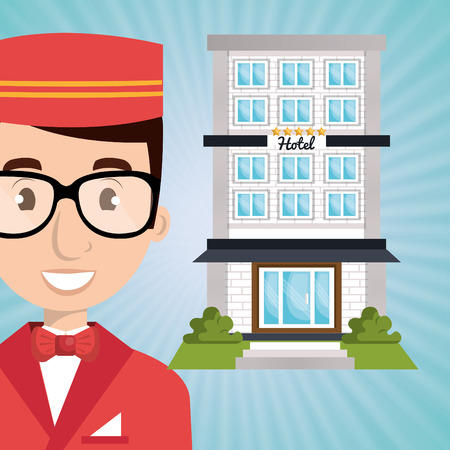 employee hotel building icon vector illustration design Illustration