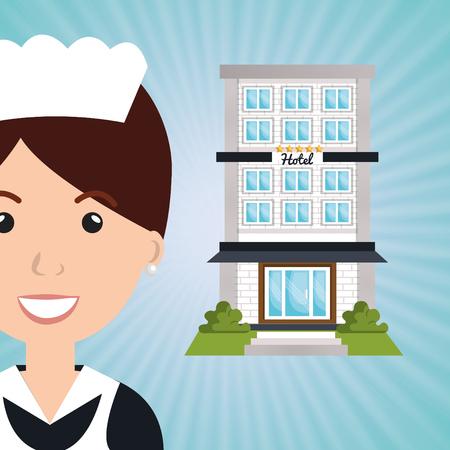 foreigner: employee hotel building icon vector illustration design Illustration