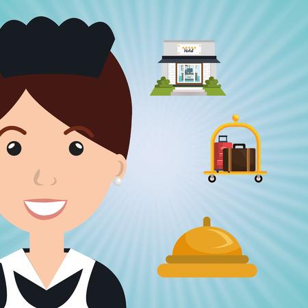 femme de ménage bonne conception vecteur service hôtel illustration Vecteurs