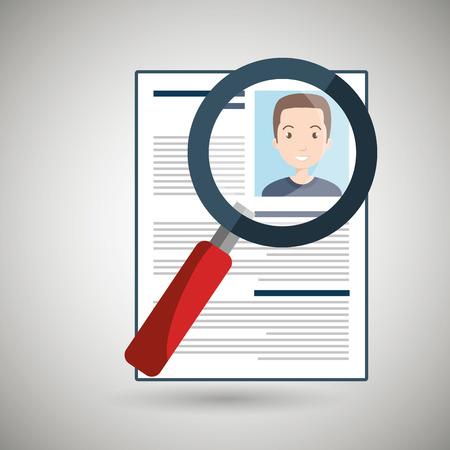 vacancy: search curriculum cv man vector illustration graphic