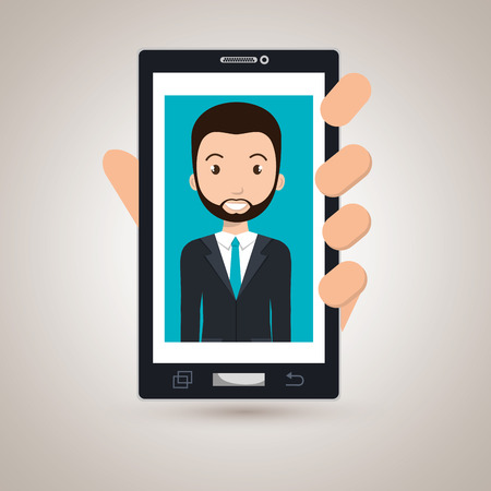 cellphone in hand: cellphone man find hand vector illustration graphic