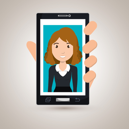 woman cellphone: cellphone woman find hand vector illustration graphic Illustration