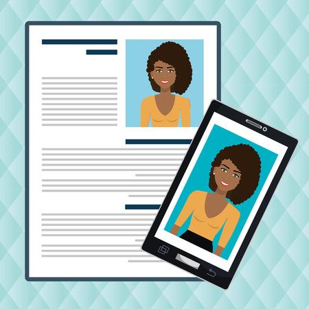 woman smartphone find person cv vector illustration graphic