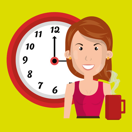 rd: woman clock cup coffee vector illustration design Illustration