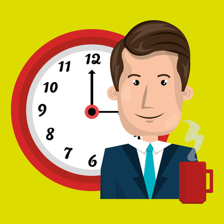 responsibility: man clock cup coffee vector illustration design