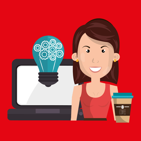 woman laptop idea coffee vector illustration design Illustration