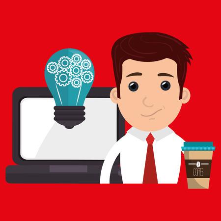 man with laptop: man laptop idea coffee vector illustration design