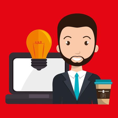 man laptop idea coffee vector illustration design