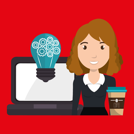 woman laptop: woman laptop idea coffee vector illustration design Illustration