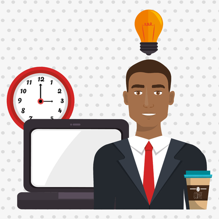 man with laptop: man laptop clock idea vector illustration design