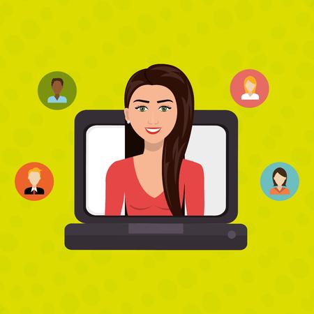 laptop woman relationship person vector illustration design