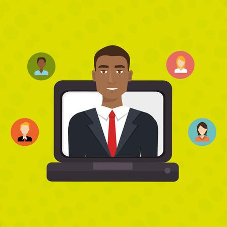 relation: man laptop relation persons vector illustration design