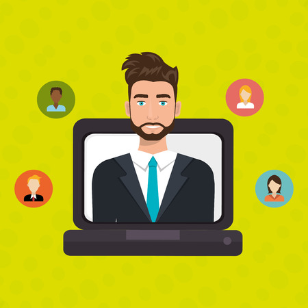 man with laptop: man laptop relation persons vector illustration design