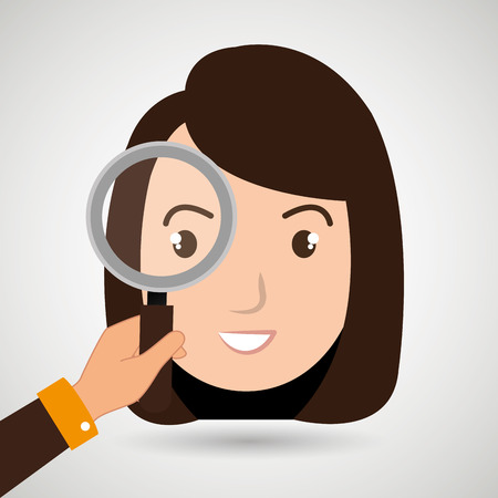 woman girl search vector illustration design
