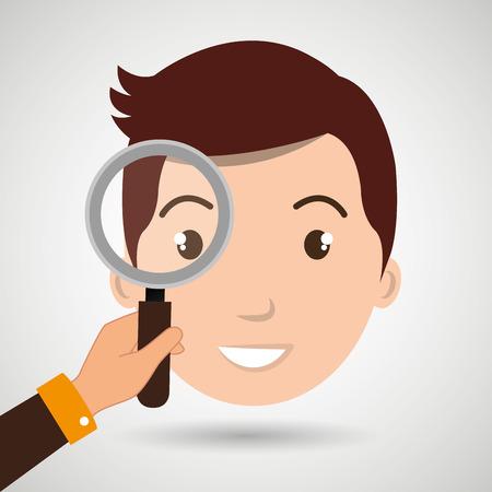 man boy search vector illustration design