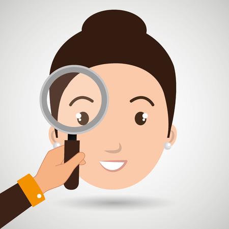woman girl search vector illustration design
